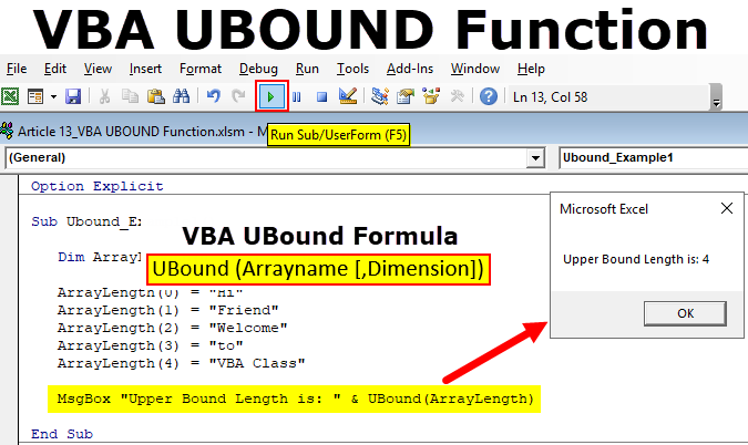 VBA UBOUND Function