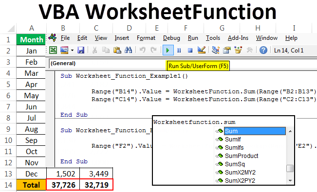 VBA Worksheet Function | How to Use WorksheetFunction in VBA?