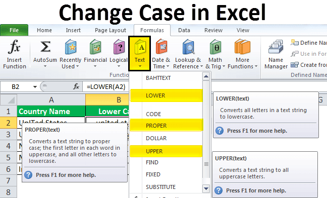chnage case in excel