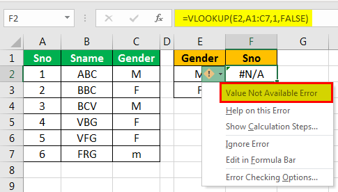 example of vlookup
