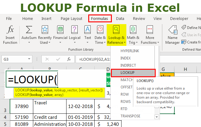 Lookup Formula in Excel