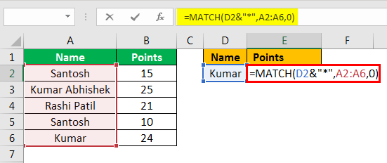 match formula excel example 2.2