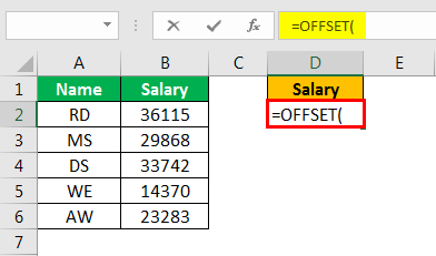 offset excel example 1.2