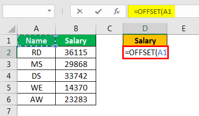 offset excel example 1.3