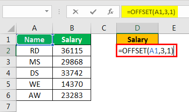 offset excel example 1.5