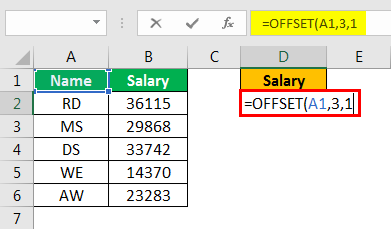 offset excel example 2.1