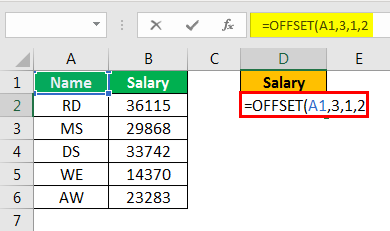 offset excel example 2.2