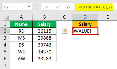 offset excel example 2.3
