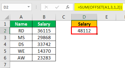 offset excel example 2.5