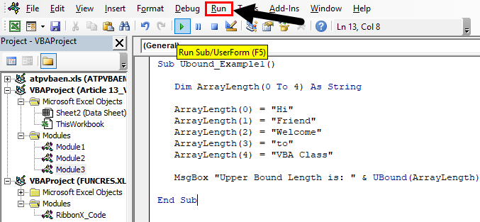 vba UBound Example 1-3