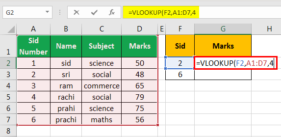 vlookup examples in excel 1-4