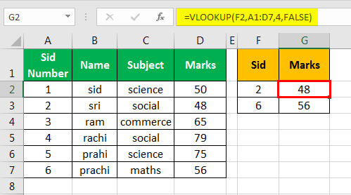 vlookup examples in excel 1-6