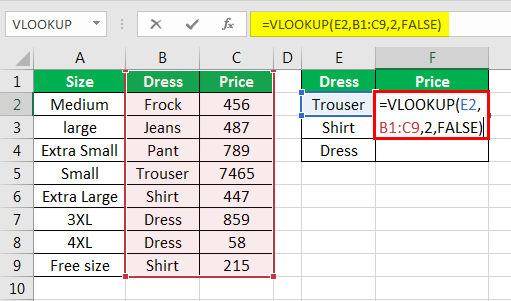 vlookup examples in excel 2-5
