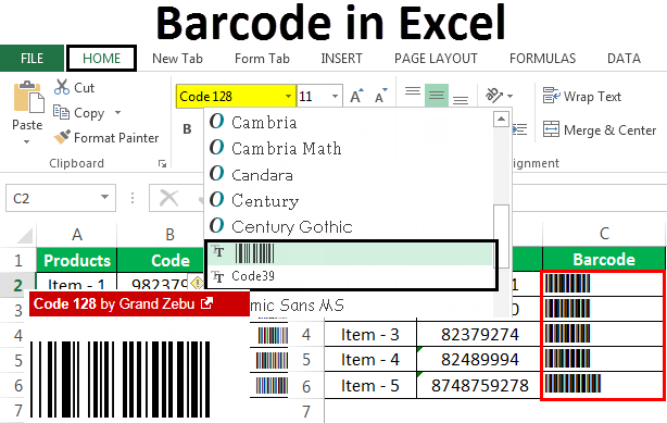 Barcode in Excel | Step by Step Guide to Create Barcode in Excel