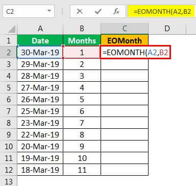 EOMonth formula example 1.4