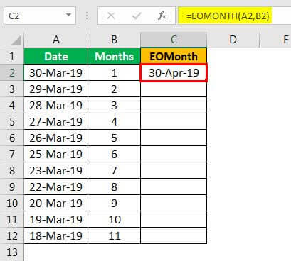 EOMonth formula example 1.5