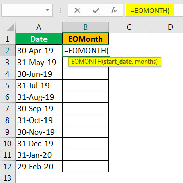 EOMonth formula example 2.2