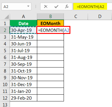 EOMonth formula example 2.3