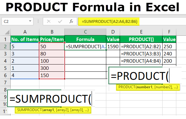 PRODUCT Formula in Excel