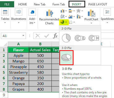 Make a PieChart in Excel Example 2
