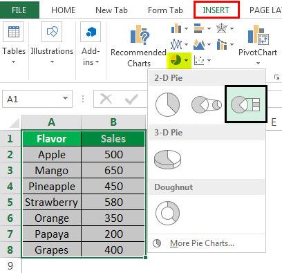 Make a PieChart in Excel Example 5