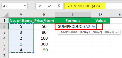 Product Formula in Excel Example 3-1