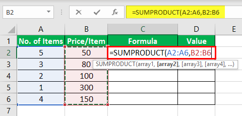 Product Formula in Excel Example 3-2