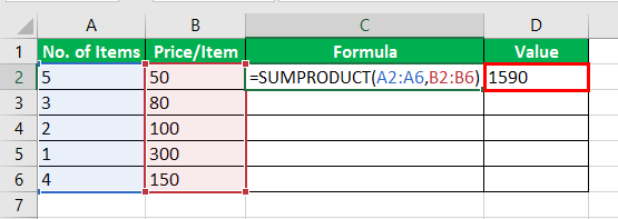 Product Formula in Excel Example 3-3