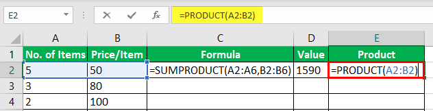 Product Formula in Excel Example 3-4