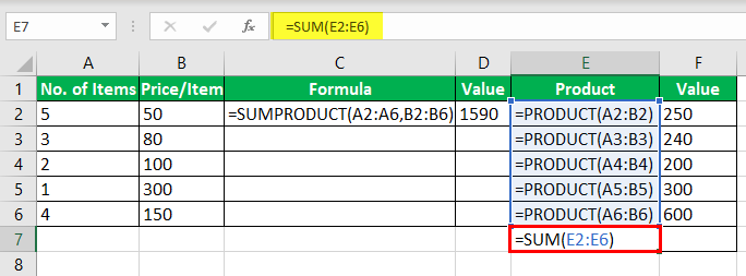 Product Formula in Excel Example 3-6