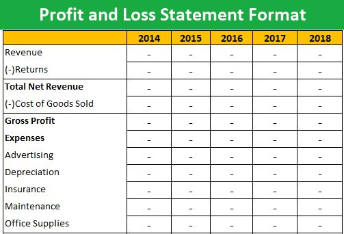 Profit And Loss Statement Format