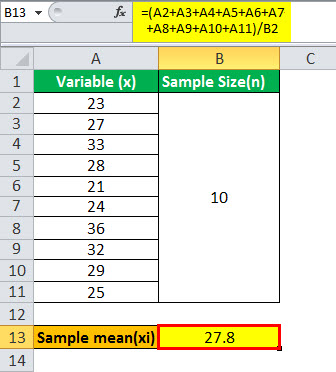 Sample Standard deviation formula example2.1