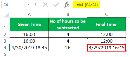 Subtract time Example 3-4