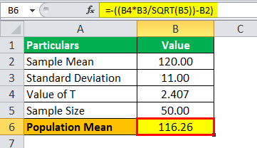 T Distribution Formula Example 3.2