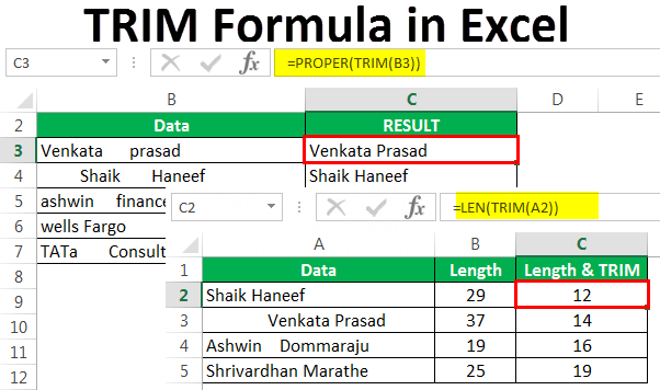 TRIM Formula in Excel