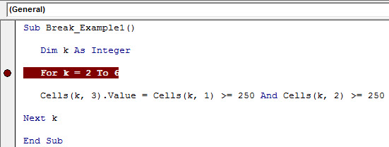 VBA-Break example