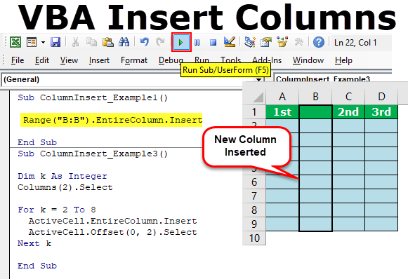 VBA Insert Columns | How to Insert Column in Excel Worksheet