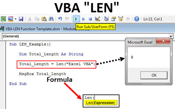 VBA LEN Function | How to use LEN to find Length of String ...