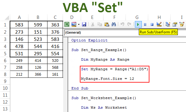 VBA Set | Assign Value to Object Variables (Worksheet, Range, Cell)