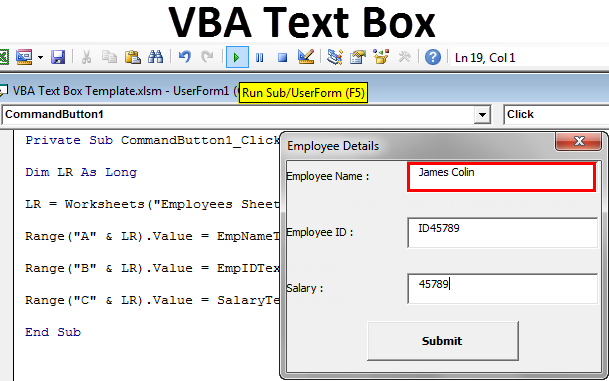 VBA Text Box | Step by Step Examples to Insert Text Box to