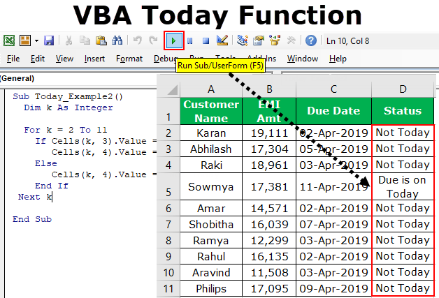 VBA Today | How to use Date Function in VBA to Find Today's