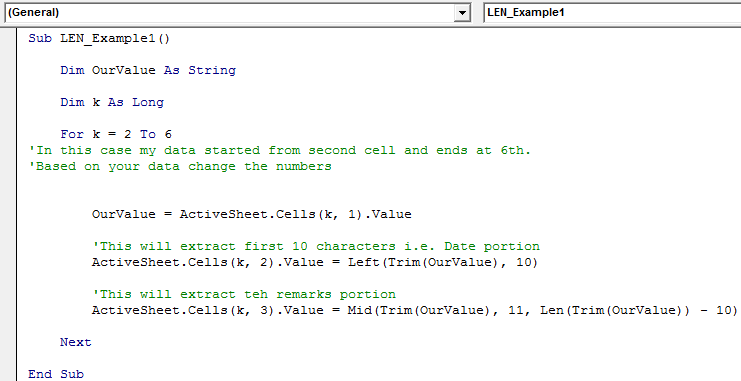 VBA LEN Function | How to use LEN to find Length of String