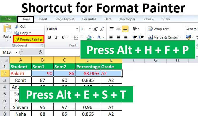 shortcut-for-format-painter-in-excel