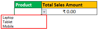 Drop down of total sales amount
