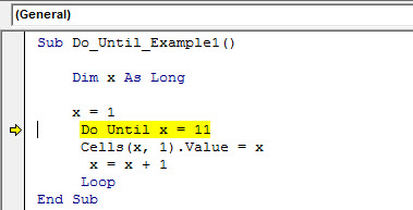 excel vba do until loop - example 1.15