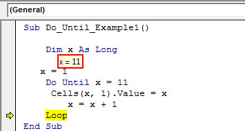 excel vba do until loop - example 1.18