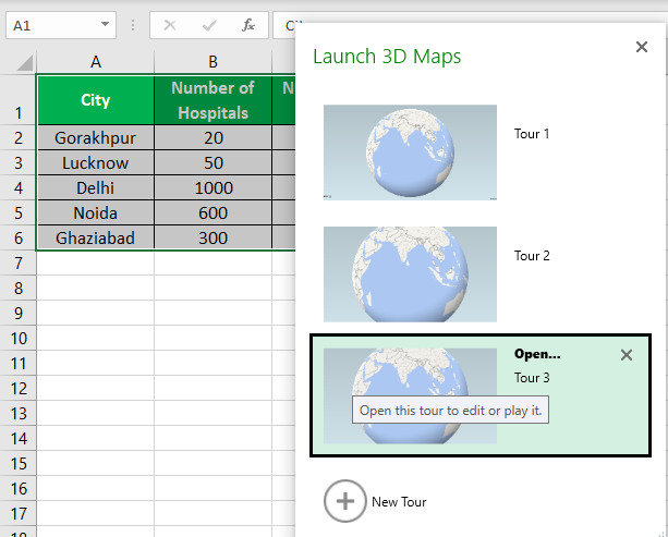 3D Maps Excel Example 1-3
