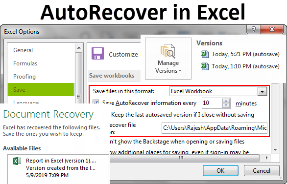AutoRecover in Excel