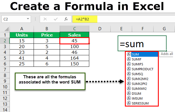 Create a Formula in Excel