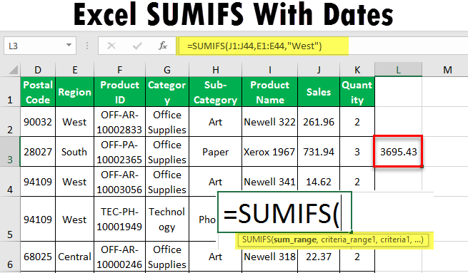 Excel SUMIFS with Dates